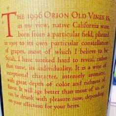 "Sean Thackrey ""Orion"" 1996 California Wine, Constellations, Blog, Star Constellations, Blogging"