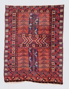 Turkmen-Ersari-engsi  around 1890, senneh-knot, worn, damaged, incomplete 204*153 cm