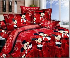 Disney Discovery- Red Mickey and Minnie Mouse Queen Bedding