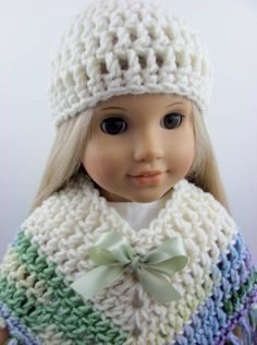 3 Piece Crocheted Poncho Set for The American Girl Doll Ivory