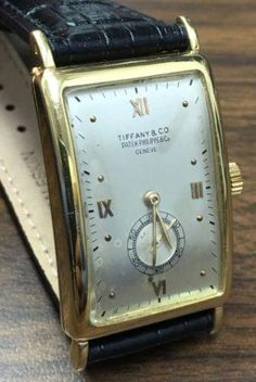 Vintage Watches Collection : Mens Patek Philippe Tiffany Watch Ref# 431 Gold Rectangular Case Stylish Watches, Luxury Watches For Men, Patek Philippe, Audemars Piguet, Fine Watches, Cool Watches, Gps Watches, Tiffany Watches, Swiss Army Watches