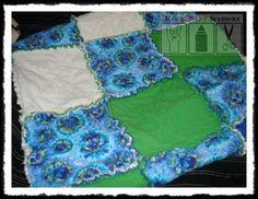 Infant/Baby/Toddler blue green and white skulls and crossbones tie dye boy or girl punk rock rag quilt. $45.00, via Etsy.