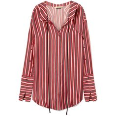 Hellessy Hutton striped silk and cotton-blend mini shirt dress (15.897.765 IDR) ❤ liked on Polyvore featuring dresses, tops, vestidos, light weight dresses, silk shirt dresses, red shirt dress, lightweight dresses and mini shirt dress
