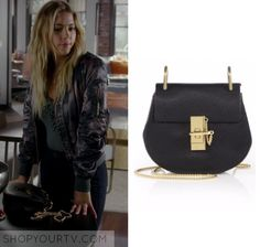 "Pretty Little Liars: Season 7 Episode 13 Hanna's Black Cross Body Bag | Shop Your TV Hanna Marin (Ashley Benson) wears this black small cross body bag with gold chain in this episode of Pretty Little Liars, ""Hold Your Piece"".  It is the Chloé Drew Mini Leather Saddle Crossbody Bag."