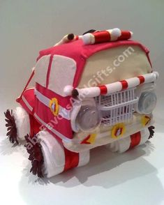 Fire Truck Diaper Cake, Baby shower gift ideas