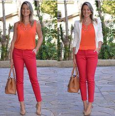 Für den Clear Spring, aber auch für den Paintbox Spring (klare warme Farben, Kontraste, aber nicht so dunkel)  red pants; orange blouse; white blazer