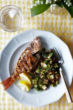 Grilled Whole Fish With Quinoa, Cucumber and Pistachio Salad