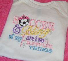 Soccer and Bling Embroidery Shirt by momof5hs63 on Etsy, $22.00