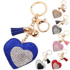 Double Heart Pendant Rhinestone Crystal Tassel Key Ring Handbag Key Charm Chain…