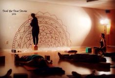 """I paint mandalas on the walls of yoga studios! Find me on Facebook at """"Traé Be True Design""""! Mandala, yoga, yoga studio, mandala mural"""