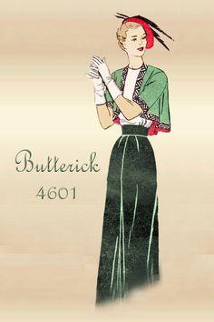 Vintage 1950s Butterick 4601 Swing Back Bolero Jacket and Sheath Skirt Sewing Pattern Bust 34 Unused Factory Folded by FloradoraPresents on Etsy https://www.etsy.com/listing/223676632/vintage-1950s-butterick-4601-swing-back