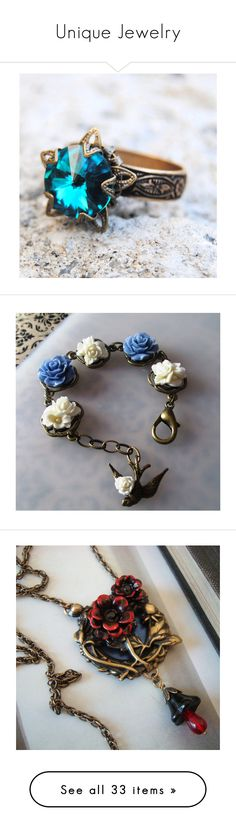 """""""Unique Jewelry"""" by meranda-joi ❤ liked on Polyvore featuring jewelry, rings, floral jewelry, victorian jewelry, bow rings, antique brass rings, bow jewelry, bracelets, blue bangles and vintage style jewelry"""