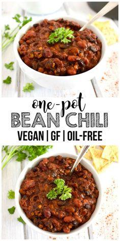 One-Pot Bean Chili (Vegan, Gluten-Free, Oil-Free!) Vegan One-Pot Bean Chili - This amazing One-Pot Bean Chili is so delicious! A perfect, easy vegan lunch or dinner. It's also gluten-free & oil-free! Easy Vegan Lunch, Vegan Lunches, Vegan Dinner Recipes, Vegan Foods, Vegan Dinners, Vegan Recipes Easy, Vegetarian Recipes, Free Recipes, Easy Dinners
