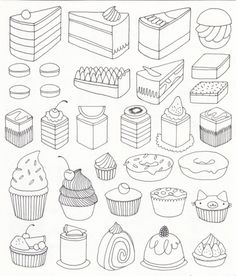 coloring adult cupcakes and little cakes coloring pages printable and coloring book to print for free. Find more coloring pages online for kids and adults of coloring adult cupcakes and little cakes coloring pages to print. Doodle Drawings, Doodle Art, Sweet Drawings, Adult Coloring Pages, Coloring Books, Free Coloring, Colouring, Art Handouts, 5th Grade Art