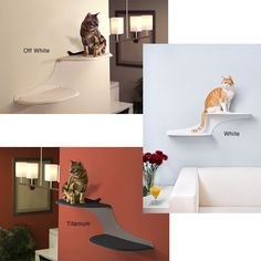 Let your cat relax on this unique cat wall shelf from The Refined Feline. This fun and functional cat shelf, named 'Cat Cloud', is constructed from powder-coated steel and features a faux sheepskin fabric pad for your cat to perch on comfortably.