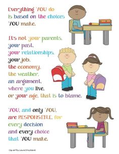 Classroom Freebies: Responsibility Poster - Link to lots of great classroom posters Classroom Freebies, Classroom Behavior, Classroom Posters, School Classroom, Education Posters, Classroom Ideas, Behavior Management, Classroom Management, Responsive Classroom