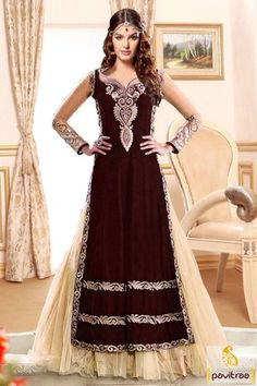Velvet brown  anarkali salwar suit, spread your charm all over with gorgeous multi thread embroideries and flawless umbrella style.