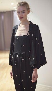 Caron Callahan Kimono Blouse in Silk Crepe Dot