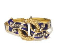 An antique enamel and diamond flexible bangle bracelet, circa 1860 composed of rose-cut diamonds; gross weight approximately: grams; mounted in eighteen karat gold; Antique Bracelets, Love Bracelets, Bangle Bracelets, Bangles, Victorian Jewelry, Antique Jewelry, Vintage Jewelry, Renaissance, Bracelet Box