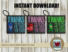 PJ Masks Themed Favor Tags Feat. CatBoy Gecko by AllieLoganDesigns - INSTANT DOWNLOAD for just $5!