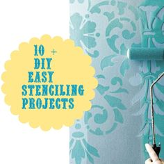 10 easy and cost-effective DIY stenciling projects for your home. We really like the idea of stenciling a design around a ceiling light instead of installing a medallion. Courtesy of Debbie Doo's.