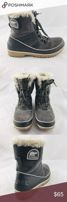 6fb588ec5f9e8 Plush Sorel Winter Boots! Like New! Plush Sorel Snowboots in gray suede  with faux fur lining are fabulous for winter fun! Women s size 12B.