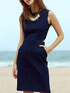 SHARE & Get it FREE   Blue Denim Round Neck Sleeveless Cut Out DressFor Fashion Lovers only:80,000+ Items • New Arrivals Daily Join Zaful: Get YOUR $50 NOW!