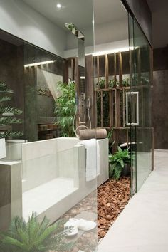 ♂ Contemporary interior design bathroom with glass wall
