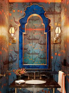 dark blue and coral chinoiserie wallpaper powder room