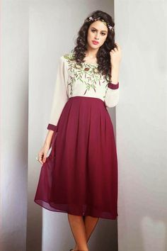 Rani And Off White Color Designer Party Wear Kurti - $35.00