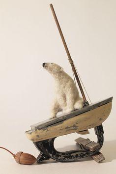 Dinny Pocock needle felted polar bear on boat