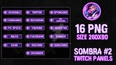 sombra 2 twitch panels by lol0verlay nakladki - diamona twitch fortnite