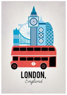 """'Elliott C. Spring 2015, Section 1. """"London, England"""". Ad created by Milli-Jane. I chose this advertisement because of its clean, simple messaging; it only has two words! Although it is a simple advertisement, the advertisers used the images that related directly to London in order to motivate the audience to visit. Link to image: https://www.pinterest.com/pin/271201208784203289/."""