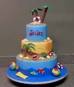 beach theme - all fondant; white choc shells; beach balls are jaw breakers covered in fondant. Cakecentral