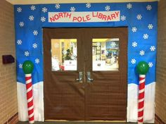 CRJH Library December door decor contest entry - Welcome to the North Pole Library!