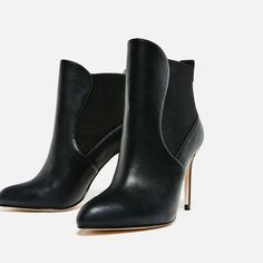 HIGH HEEL ANKLE BOOTS WITH ELASTIC-Ankle boots-SHOES-WOMAN   ZARA United States