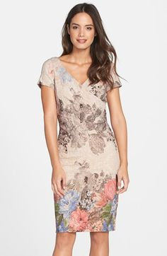 Free shipping and returns on Adrianna Papell Matelassé Faux Wrap Sheath Dress (Regular & Petite) at Nordstrom.com. Subtle metallic shimmer and lush blooms detail the rich matelassé fabric of this pretty, textured faux-wrap dress.