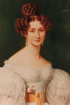 Eugénie Hortense Auguste Napoléone, known as Eugénie de Beauharnais, princess of Leuchtenberg (1808 –1847) was a Franco-German princess, second daughter of Eugène de Beauharnais and Princess Augusta of Bavaria, and a member of the house of Beauharnais. In 1826 she married Constantine, Prince of Hohenzollern-Hechingen.  Sister of Josephine of Sweden and Amelie of Brazil.  Died childless of tuberculosis.