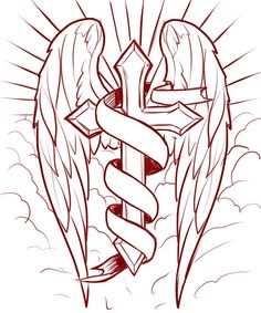 cross with angel wings coloring pages cross with wings in the clouds coloring page free pages cross coloring with angel wings. Cross With Wings Tattoo, Cross Tattoo For Men, Cross Tattoo Designs, Tattoo Sleeve Designs, Cross Coloring Page, Angel Coloring Pages, Coloring Books, Coloring Sheets, Cross Drawing