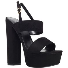 Carvela Glamorous Platform Suedette Sandals , Black ($61) ❤ liked on Polyvore featuring shoes, sandals, heels, black, zapatos, platform sandals, ankle strap sandals, black flat shoes, high heel shoes et low heel sandals