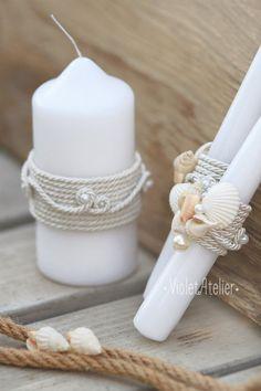 Playa boda unidad vela conjunto conchas blancas velas velas