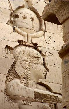The goddess Isis, detail from the east tower of the first pylon of her temple at Philae.