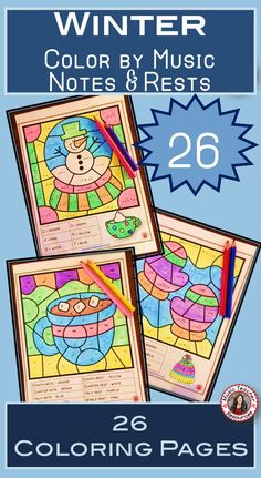Winter Music Lesson  | Winter 26 Color by Music Notes and Rests pages   |    #musiceducation  #musiced