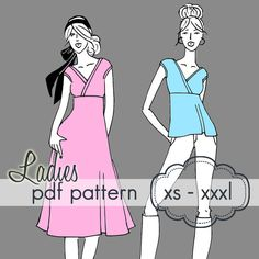 Crossover tee/dress pattern for ladies!  This is already one of my fave patterns for girls.