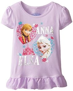Disney Little Girls Frozen Anna and Elsa Girls Jersey Puff TShirt with Tulle Ruffle Bottom Lilac 6X -- Continue to the product at the image link.