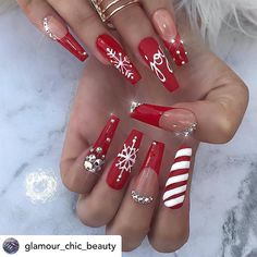 "💋 Perfect Nails 🌎 on Instagram: ""✨✨🌟✨😘 Can't wait for Christmas ❤️ Beautiful & gorgeous! 💅 Nail Artist: @glamour_chic_beauty ✔️🌟🌟🌟 💝 Follow her for more gorgeous nail art…"""