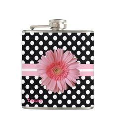 Polka Dots and Pink Daisy Custom Flask #polkadots #daisy #flask #lace #monogram #women