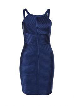 Эффектное платье приталенного покроя от BCBGMAXAZRIA. Модель синего цвета выполнена из фактурного атласного материала. Особенности: застежка-молния на спинке, широкие бретели, легкая подкладка из приятного на ощупь материала. http://j.mp/1ryAAaE