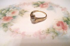 10K Gold Promise Ring With Heart and Small by DivineMissMDesigns