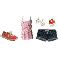 Pink lace tank, denim shorts, coral sneakers, flower ring, flower earrings.